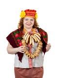 Vrouw in Russische volkskleren Royalty-vrije Stock Afbeeldingen