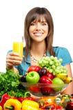 Vrouw, sap, groenten en vruchten Stock Afbeelding