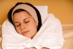 Vrouw in sauna Royalty-vrije Stock Afbeeldingen