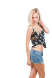 Vrouw in schedelt-shirt Stock Afbeeldingen