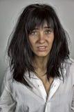 Vrouw in schok met massy haar royalty-vrije stock fotografie