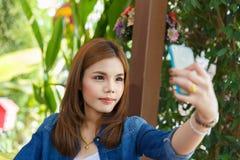 Vrouw selfie Stock Afbeelding