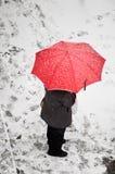 Vrouw in sneeuw Stock Foto