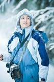 Vrouw in Sneeuw stock foto's