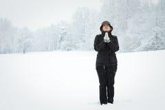 Vrouw in sneeuw Royalty-vrije Stock Fotografie