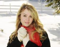 Vrouw in sneeuw het glimlachen Stock Afbeelding