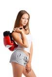 Vrouw in sportenkleren royalty-vrije stock fotografie