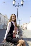 Vrouw in stad Royalty-vrije Stock Afbeelding