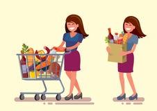 Vrouw in supermarkt vector illustratie