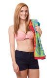 Vrouw in Swimwear Stock Foto