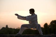 Vrouw in taiji chuan oefening van het witte kostuummerk Royalty-vrije Stock Afbeeldingen