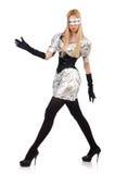 Vrouw in technologie-geïsoleerd concept Royalty-vrije Stock Foto