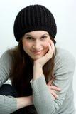 Vrouw, of tiener in daling of de winterhoed. Royalty-vrije Stock Fotografie