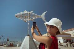 Vrouw-toerist stock afbeeldingen