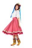Vrouw in traditioneel Oekraïens kostuum Stock Foto