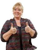 Vrouw twee duimen omhoog royalty-vrije stock afbeeldingen