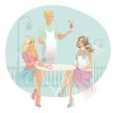 Vrouw twee in koffiehuis Royalty-vrije Stock Foto