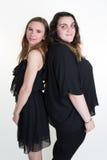 Vrouw twee met verschillend lichaam vormt rijtjes Royalty-vrije Stock Foto's
