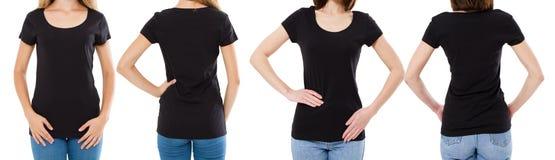 Vrouw twee in zwarte t-shirt: bebouwde beeld voor en achtermening, t-shirtreeks, de spatie van de modelt-shirt royalty-vrije stock foto