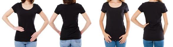 Vrouw twee in zwarte t-shirt: bebouwde beeld voor en achtermening, t-shirtreeks, de spatie van de modelt-shirt royalty-vrije stock afbeeldingen