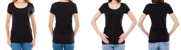 Vrouw twee in zwarte t-shirt: bebouwde beeld voor en achtermening, t-shirtreeks, de spatie van de modelt-shirt royalty-vrije stock foto's
