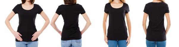 Vrouw twee in zwarte t-shirt: bebouwde beeld voor en achtermening, t-shirtreeks, de spatie van de modelt-shirt stock afbeelding