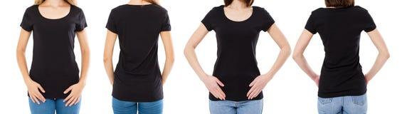 Vrouw twee in zwarte t-shirt: bebouwde beeld voor en achtermening, t-shirtreeks, de spatie van de modelt-shirt stock foto