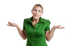 Vrouw in twijfel die op wit wordt geïsoleerde Royalty-vrije Stock Fotografie