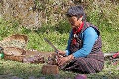 Vrouw uit Bhutan bij het Chhume-dorp, Bhutan Stock Afbeeldingen