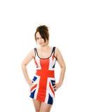 Vrouw in Union Jack kleding Stock Foto's