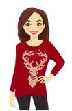 Vrouw in vakantiesweater Stock Fotografie