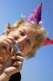 Vrouw van birhtday partij royalty-vrije stock foto's