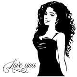 Vrouw van de pop-art de grappige stijl met toespraakliefde u, speld op meisjesportret, vector illustratie