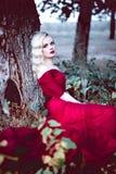 Vrouw van het manier de schitterende jonge blonde in mooie rode kleding in een sprookje bos magische atmosfeer Retoucheerd stemme Stock Foto
