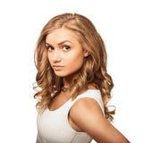 Vrouw van het portret de jonge mooie blonde met bruine ogen Stock Foto