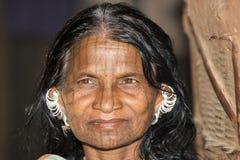 Vrouw van stammengebied, Orissa staat, India Stock Fotografie