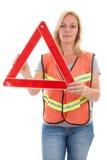 Vrouw in veiligheidsvest Stock Afbeeldingen