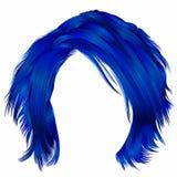 In vrouw verfomfaaide haren donkerblauwe kleuren Schoonheidsmanier Royalty-vrije Stock Afbeelding