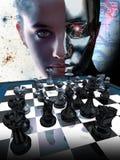Vrouw versus robot royalty-vrije illustratie