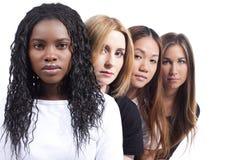 Vrouw vier met verschillende afleiding Stock Foto's