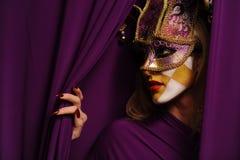 Vrouw in violet half masker Royalty-vrije Stock Afbeeldingen