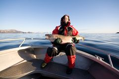 Vrouw visserij royalty-vrije stock foto's