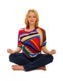 Vrouw in Vreedzame Meditatie Royalty-vrije Stock Foto