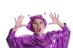 Vrouw in vreemd kostuum Royalty-vrije Stock Afbeelding