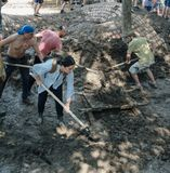 Vrouw vrijwilligers het schoonmaken vuil met een schop Royalty-vrije Stock Fotografie