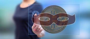 Vrouw wat betreft een bitcoin het binnendringen in een beveiligd computersysteem concept royalty-vrije stock afbeeldingen