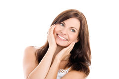 Vrouw wat betreft haar gezicht Stock Foto