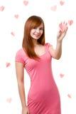 Vrouw wat betreft hartvorm Royalty-vrije Stock Foto's