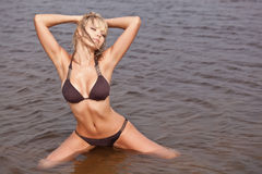 Vrouw in water dat bruine bikini draagt Stock Foto