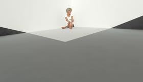 Vrouw alleen in Wit vector illustratie